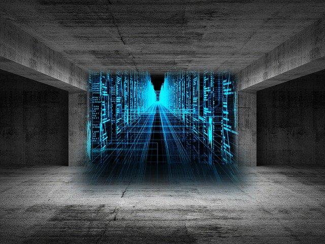 cloud services-Datenströme in blau visualisiert